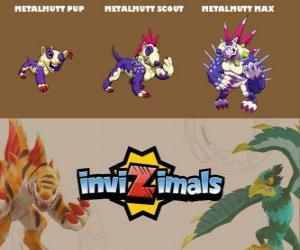Metalmutt in three phases Metalmutt Pup, Metalmutt Scott and Metalmutt Max, Invizimals puzzle
