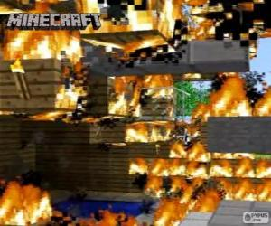 Minecraft fire puzzle