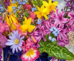 Mixed spring flowers puzzle
