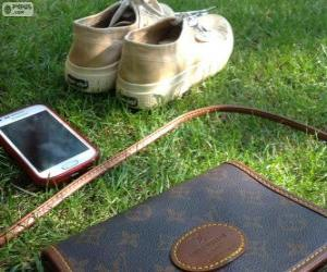 Mobile, bag and sneakers puzzle
