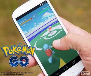 Mobile with the app Pokémon GO puzzle