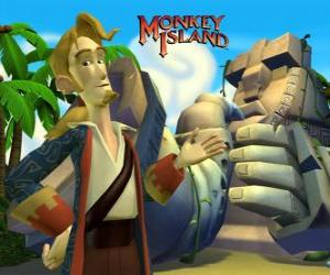 Monkey Island, an adventure video game. Guybrush Threepwood, a major player puzzle