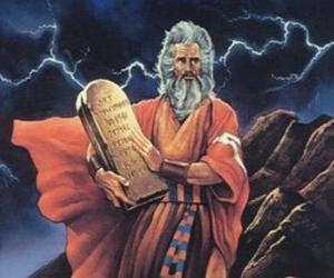 Moses with the tablets of the law on which are written the ten commandments puzzle