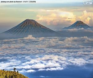 Mountains Sindoro and Sumbing, Indonesia puzzle