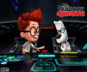 Mr. Peabody and Sherman in his time machine puzzle