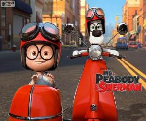 Mr. Peabody and Sherman on the motorcycle with sidecar puzzle