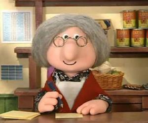Mrs Goggins, the village postmistress in Greendale puzzle