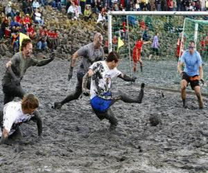 Mud Olympics, or Wattolumpiad, are battling in the marshes of the Elbe River puzzle