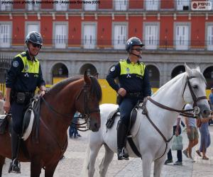 Municipal police on horseback, Madrid puzzle
