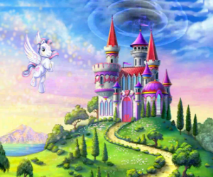 My Little Pony flying near a castle puzzle