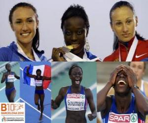 Myriam Soumaré champion in 200 m, and Alexandra Bryzhina Yelizabeta Fedora (2nd and 3rd) of the European Athletics Championships Barcelona 2010 puzzle