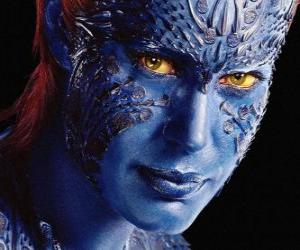 Mystique is a human mutant supervillain that can transform herself in any humanoid puzzle