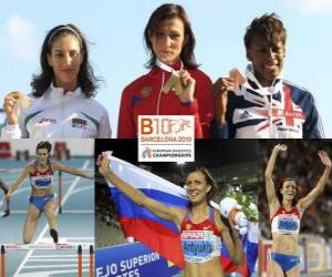 Natalia Antiuj 400m hurdles champion, Vania Stambolova and Shakes-Drayton Perri (2nd and 3rd) of the European Athletics Championships Barcelona 2010 puzzle