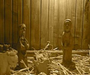 Nativity figurines and wooden crib puzzle
