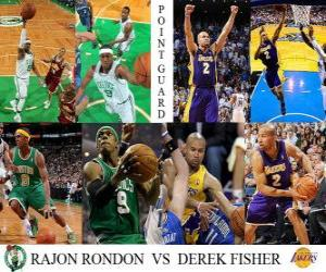 NBA Finals 2009-10, Point Guard, Rajon Rondon (Celtics) vs Derek Fisher (Lakers) puzzle