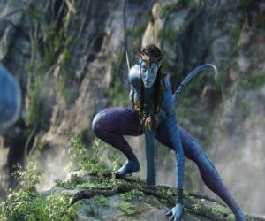 Neytiri, a na'vi, a race of humanoids from the planet Pandora with a long tail puzzle