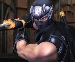 Ninja warrior with sword in hand puzzle
