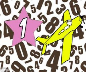 Number 1 in a star with a plane puzzle