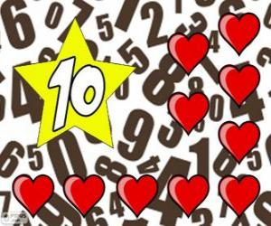 Number 10 in a star with ten hearts puzzle