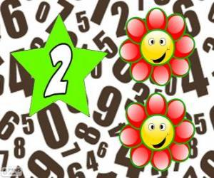 Number 2 in a star with two flowers puzzle