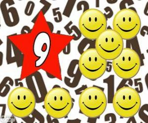 Number 9 in a star with nine smiles puzzle