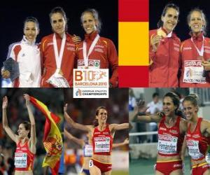 Nuria Fernandez champion at 1500 m, Hind Dehiba and Natalia Rodriguez (2nd and 3rd) of the European Athletics Championships Barcelona 2010 puzzle