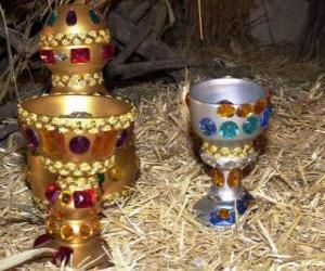 Offerings of the three Kings, gold, frankincense and myrrh to the Infant Jesus puzzle