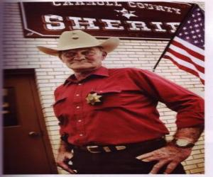 Old sheriff with a cowboy hat and star on his chest puzzle