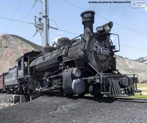 Old steam locomotive with the wagon of coal puzzle