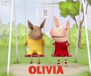 Olivia and Julian in the swing puzzle