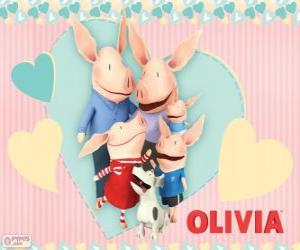 Olivia the piglet with her family puzzle