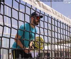 Paddle tennis player in the net puzzle