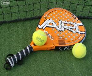 Padel racquet and balls puzzle