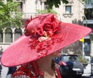 Pamela red, are very wide-brimmed hats used by women puzzle