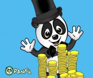 Panda very happy watching many coins Panfu puzzle