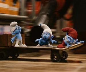 Papa Smurf, Brainy Smurf and Gutsy Smurf and skateboarding escape Gargamel puzzle
