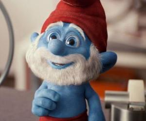 Papa Smurf wondering how to return to the village of the Smurfs puzzle