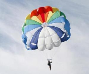 Parachutist down through the clouds in a parachute after jumping from an airplane puzzle