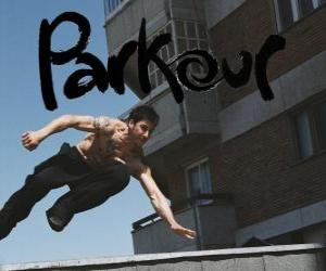Parkour is a way of conditioning the body and the mind by learning how to overcome obstacles with speed and efficiency puzzle