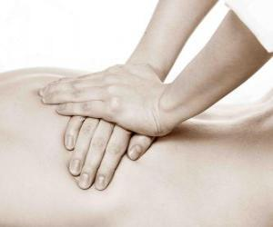 Patient receiving a therapeutic massage by a physiotherapist puzzle