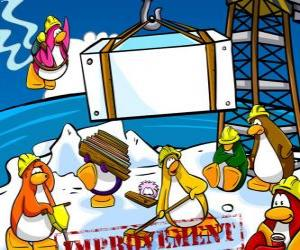 Penguins at work at the Club Penguin puzzle