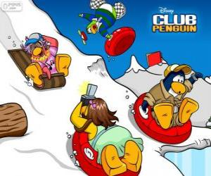 Penguins sledding down in a sleigh puzzle