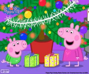 Peppa Pig and George at Christmas puzzle