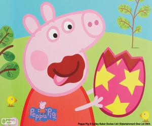 Peppa Pig eating an egg puzzle