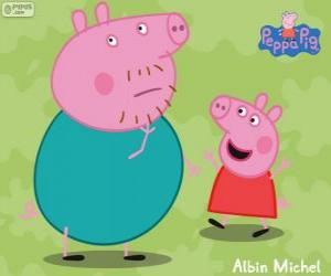 Peppa Pig with his father puzzle