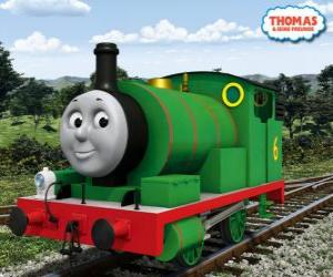 Percy, the youngest locomotive, green coloured and with the number 6. Percy is the best friend of Thomas puzzle