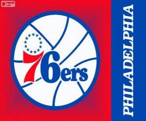 Philadelphia logo 76ers, Sixers, NBA team. Atlantic Division, Eastern Conference puzzle