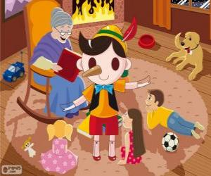 Pinocchio. The wooden marionette that becomes a child puzzle