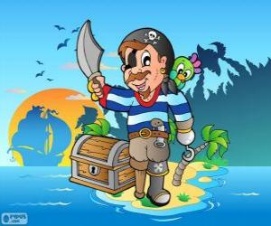 Pirate with treasure chest puzzle
