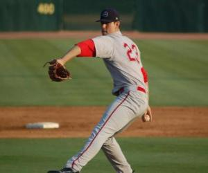 Pitcher preparing to throw the ball puzzle